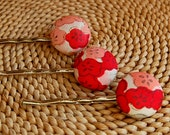 Pink and Red Vintage Kimono Silk Hair Pins -- Free Shipping USA