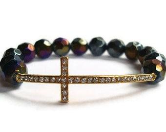 Gold Sideways Cross Beaded Bracelet
