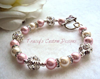 Beautiful Breast Cancer Awareness Bracelet - CUSTOM MADE JEWELRY