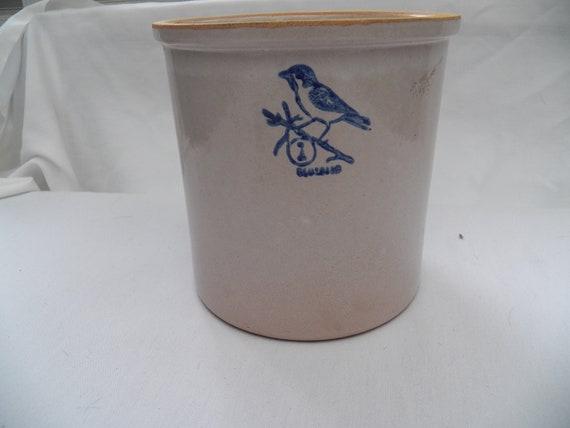 Vintage Bluebird Stoneware Crock Hand Turned 1 Gallon