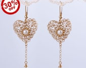 SALE 30% OFF & Free Shipping - 14K Gold Filled Lace Crochet Heart Earrings with Pearls Studded