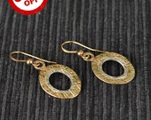 SALE 30% OFF & Free Shipping - Ellipse Shape Gold Filled and Silver Filled Earrings