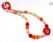 Nursing necklace - Red and Orange Crochet Nursing mom necklace - Breastfeeding/Teething necklace - Teething toy - Sling necklace.