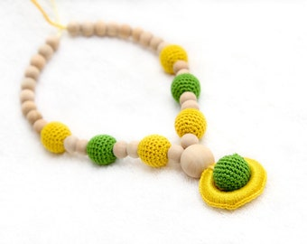 SALE Nursing necklace, Breastfeeding necklace in green and yellow natural wooden beads, wooden ring