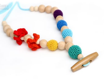 Eco-Friendly Rainbow Teething necklace/Breastfeeding mom necklace.Crochet Nursing necklace with wooden button.