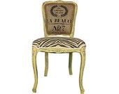 French Louis XVI Burlap Accent Chair Upholstered in Burlap Yellow Distressed Chalk Paint Annie Sloan Shabby Chic Decor Paris Burlap Zebra