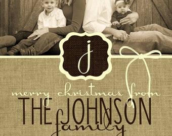 Custom Monogram, Burlap and Ribbon Christmas Cards