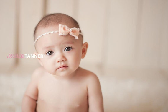 Country Chic Bow Headband, Newborn Bow Headband, Newborn Photo Prop, Peach Colored Baby Girl Tieback on Yarn Band, Newborn Size
