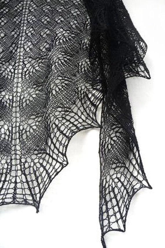 Black Knit triangular shawl-  black lace shawl