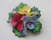 Vintage celluloid pansy  flower brooch