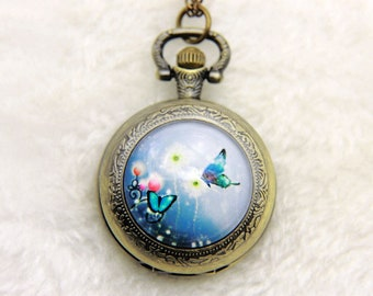 Necklace Pocket watch two butterflies