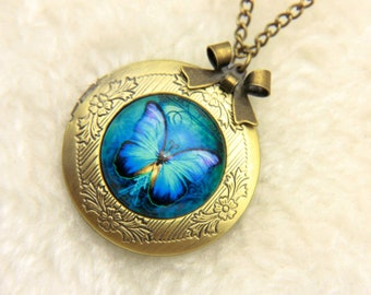 Necklace locket blue butterfly