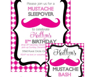 Mustache Sleepover Birthday Bash Printable Party Invitation/ Favor Tags