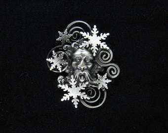 Old Man Winter Brooch- Snowflake Pin- Snowflake Jewelry