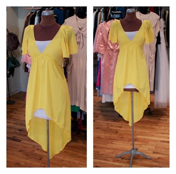 1970s High Low Open Back Yellow Flowy Summer Party Dress Sundress Dress with Empire Waist