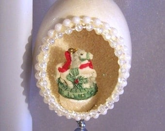 Vintage Christmas Ornament: Christmas Carousel Horse in an Egg - S1034