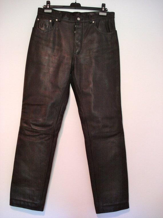 1980s Men's Black Leather Pants - Boot cut - Button fly