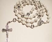 White Howlite Rosary - Unisex, healing crystals, prayer, cross, Crucifix, religious, spiritual, gemstones, beads, beaded