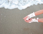 Hand Crochet White Bridal Hand Adornment Irish Lace Romantic Snow White