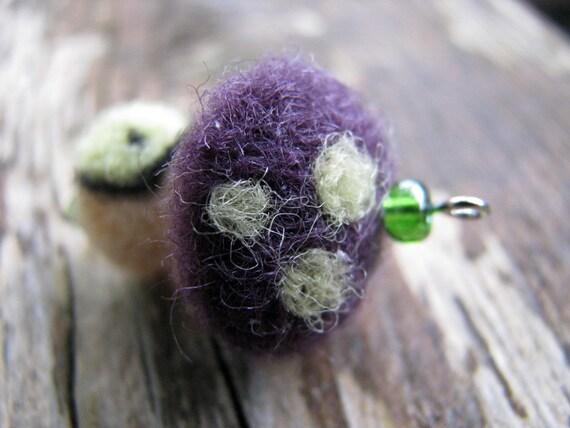 Felted Jewerly, mini mushroom, pendant