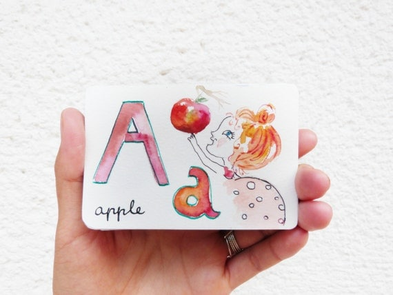 Set of Alphabet cards Original  hand painted: watercolor