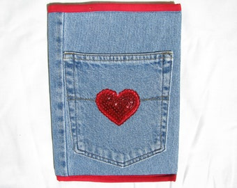 Recycled Denim Jeans Notebook, Composition Book, Artist Journal, Diary, Upcycled Denim, Blue Jeans, Red Heart Applique