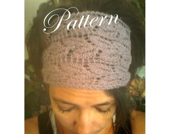Knitted Lacy Leaf Headwrap, Headband PDF Pattern