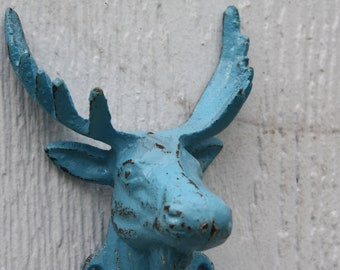 Cast Iron Refinished TURQUOISE Moose Head / Wall Hook / Key Hook / Lodge / Cabin