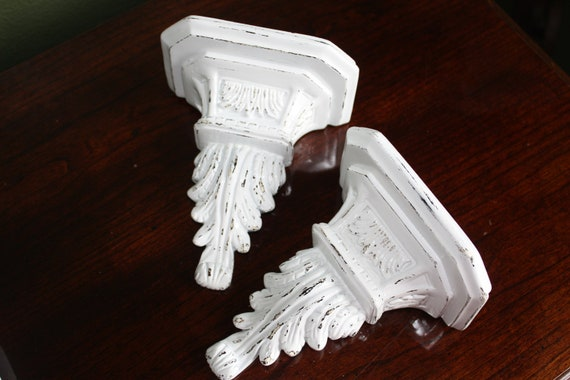 Distressed Display Shelves / Wall Sconce / Shabby Chic / Wall Decor in Glossy White