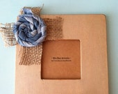 Burlap Cross with Denim Flower Picture Frame - baby shower, wedding, anniversary, bridesmaid, hostess gift