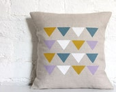 Hand Printed Linen Cushion Cover - Triangles