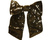 Vintage 80s Huge Black Sequinned Bow Tie With Vinyl Backing...Perfect For Pimping Up an Outfit or Handbag.