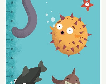 Fish Height Chart Decor Inch - Blue kids Wall Art Decor - Aquarium Wall mural for kids room