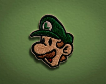 PAPER LUIGI - Embroidered Iron-on NES Nintendo Throwback Patch