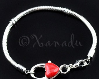 Red Heart Charm Chain - 7.5in or 19cm European Bracelet Chain with Extra Large Lobster Claw Clasp For All Large Hole European Charms