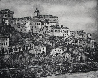 Original Aquatint Etching- Gordes