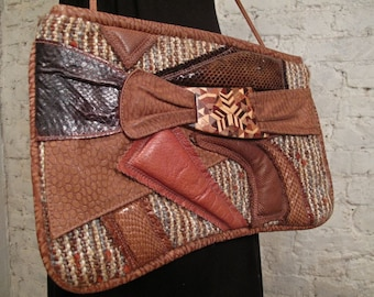 80s Collage Bag - Tweed, Leather, Snake - Awesome Textural Purse