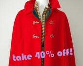 Beautiful Red Wool Cape with Toggle Clasps - Reversible