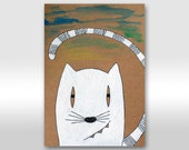 Cat illustration White cat portrait art Ink and acrylic Animal painting - Kitty Smile drawing for nursery decor - Gift cat lover