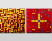 Original art diptych Red Yelloe Geometric art - Abstract Original Painting Modern Geometry diptych Textured artwork Handmade Wall decoration
