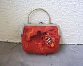 Nunofelted purse, Small bag, red orange hand crafted with flower, eco friendly, gift under 50
