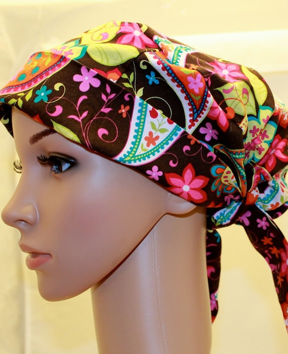 Tie Back Pleated back Surgical Scrub Hat/ Chemo hat with band.  Michael Miller Brown Paisley Spree