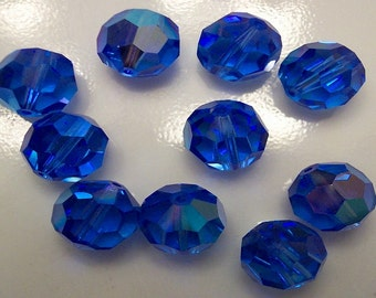 24+ Swarovski 9mm and 11mm Sapphire AB Article 39 / 5300 Round Crystals, New from Box