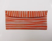 Pencil or Make Up POUCH // pink suede with orange zebra print
