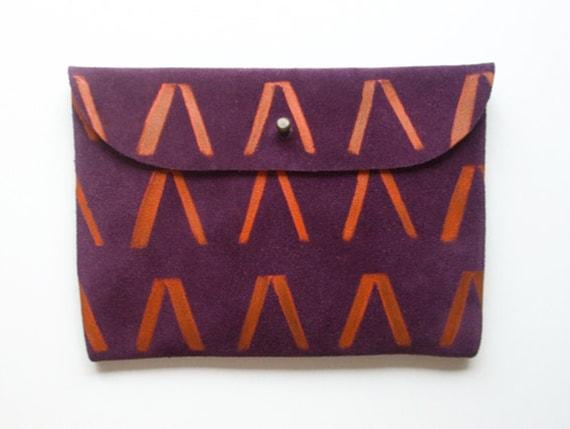 CLUTCH (s) // purple suede with orange Vs