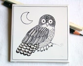 black owl moon tile, hand painted ceramic, pen freehand drawing