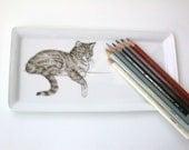 reserved listing for Christine: cat  porcelain tray, bear mug, bear brooch