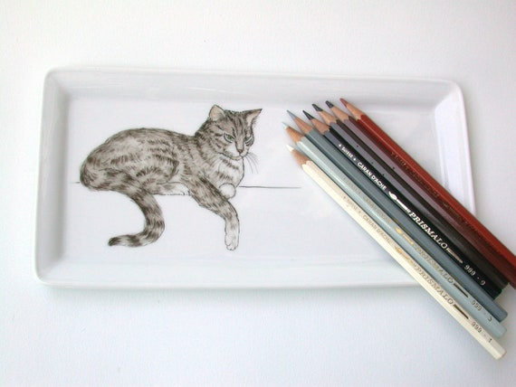 reserved listing for Christine: cat  porcelain tray, bear mug, bear brooch