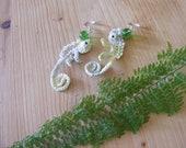 Crochet Chameleons Earrings in Yellow and Green Ombre Orginal Design