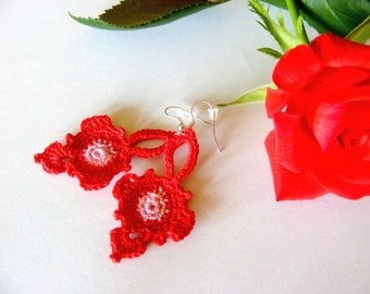 Crochet Romantic Earrings Red Fashion Dangle Orginal Design
